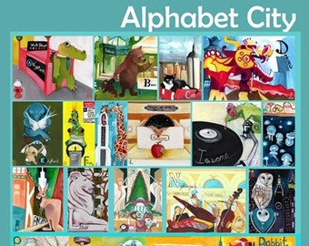 NEW DESIGN - Alphabet City Complete. Teal. Animals in NYC. Awesome Baby Shower Gift. Children's illustration, kids art print, poster
