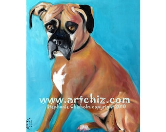 Box of Ginger. Ginger Boxer Dog. Brown. Sky Blue. Dog Illustration. Art Print. Poster. Cute Dog Art.