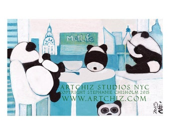 Panda Illustration. Art Print. Panda Family looking at the NYC Skyline while eating Breakfast. Cute Pandas. Baby Panda. - Skyline Breakfast