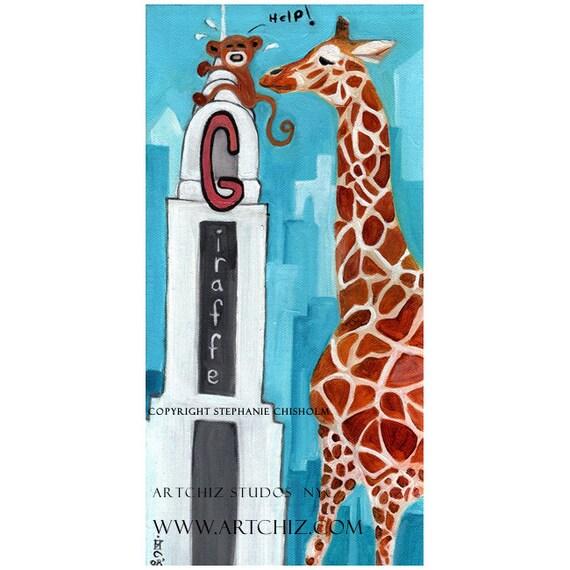 G for Giraffe.  Alphabet Art. Monkey and Giraffe Art. Giraffe rescues Monkey from the Chrysler Building. Childrens Illustration. Kids Art