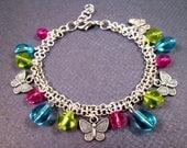 Silver Charm Bracelet, Double Strand Butterfly Bracelet, Colorful Beaded Bracelet, FREE Shipping U.S.