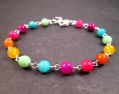 Gemstone Bracelet, Candy Jade Color Mix, Silver Heart Beaded Bracelet, FREE Shipping U.S.