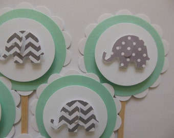 Elephant Cupcake Toppers - Mint Green with Gray Polka Dot and Chevron Elephants - Gender Neutral Baby Showers - Birthday Parties - Set of 6