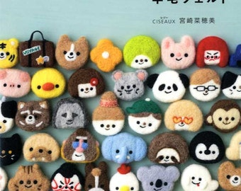 Flat Needle Felt Cute Badges and Brooches - Japanese Craft Book MM
