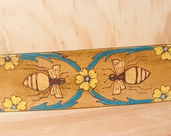 Guitar Strap - Leather Guitar Strap - Melissa Pattern with Bees and Flowers - Acoustic Guitar Strap - Turquoise Yellow Gold Antique Brown