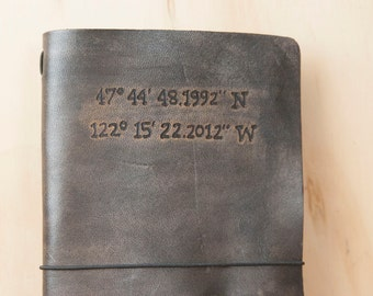 Midori Journal - Personalized Moleskine Cover in the Find Me Here Pattern - Nautical Coordinates in Antique Black