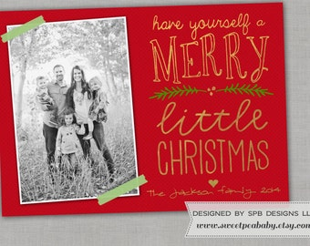 Christmas Photo Card -- Holiday Greeting Card -- Merry Little Christmas