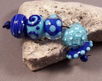Lampwork Bead Set Handmade by Monaslampwork - Turquoise and Blue - Handmade lampwork beads by Mona Sullivan Precision Dots Boho Organic