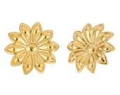 14k gold plated stud flower earrings. Vintage, retro style, sunflower, preppy, cute ,sunshine, studs, posts, on sale, spring, summer, resort