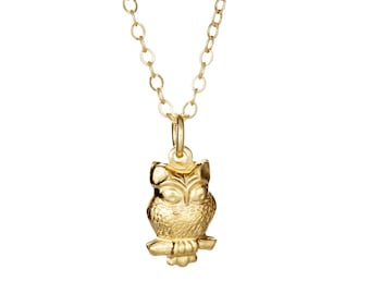 14k yellow gold plated tiny owl charm necklace. Cute, fun, delicate, layering, simple, teen, pendent, pendant. On sale. Gift under 10.