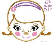Doctor Girl Head Machine embroidery Applique Birthday design pattern 4x4  5x7 6x10 7x11 INSTANT DOWNLOAD
