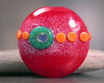 Lampwork Glass Focal Bead Spree Tiny Hearts Lots of Love Series Red Orange Divine Spark Designs SRA LeTeam