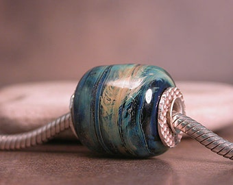 Lampwork Glass European Charm Bead Stormy Blues Silver Cored & Capped Divine Spark Designs SRA LeTeam