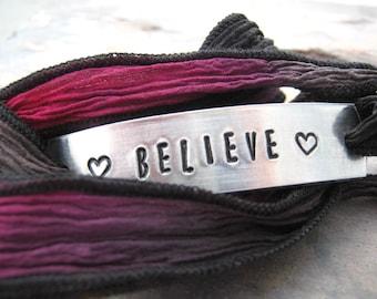 Believe Bracelet, Silk Ribbon Wrap in hot pink, black, gray, choose metal choice, text, and ribbon color, faith bracelet, Christian, Jesus