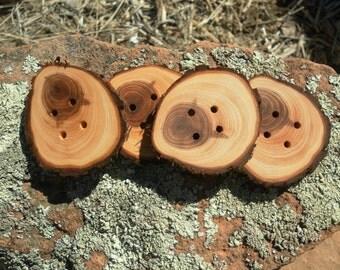 4 beautiful Juniper Wooden buttons- handmade buttons 1.75 inch (4006)