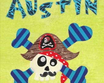 Personalized Large Neon Yellow Velour Beach Towel with Funny Pirate with Mustache and Crossbones,Kids Bath Towel,Kids Pool Towel, Camp Towel