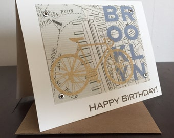 Brooklyn Map and Bike Birthday Card - Screen Printed Greeting Card