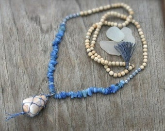 Beachy Necklace, Statement Necklace, Hawaii Cone Shell Necklace, Beachy Boho Necklace, Netted Shell Necklace, Long Necklace, Mermaid Jewelry
