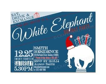 Custom Modern Retro CHRISTMAS HOLIDAY Party Invitation Invite Printable Design - Typography / White Elephant / Eat Drink Gift Exchange / Hat