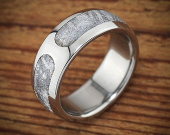 Titanium Meteorite Dashed Wedding Band