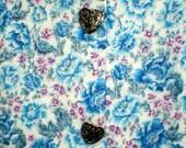 Women's cotton sundress, blue floral print dress with silver heart buttons, women's dress, gardening dress, cotton dress, beach wear