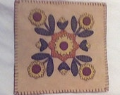 Primitive penny rug Sunflowers wool blend felt applique