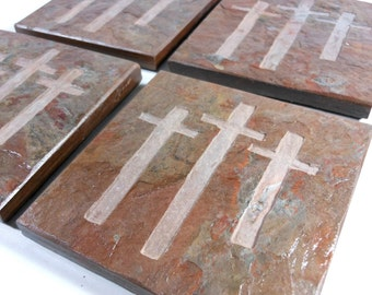 Christian Coasters - 4 Handmade Coasters, Etched Slate Coaster, Carved Stone Drink Coasters, Christian Crosses Cross Religious Gifts Decor