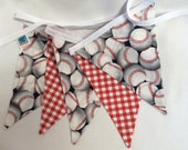 Baseballs and Gingham Theme Boy's Room Decor Fabric Bunting Flag Banner, Garland Bunting Party Decor, Kids Rooms, Nursery, Birthdays