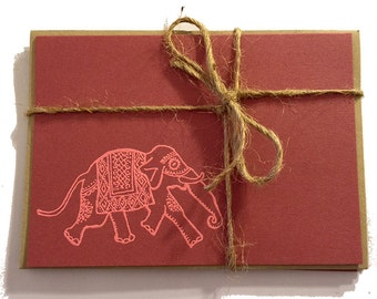 NEW Handmade Mauve Note Cards with Embossed Indian Elephant - Pink