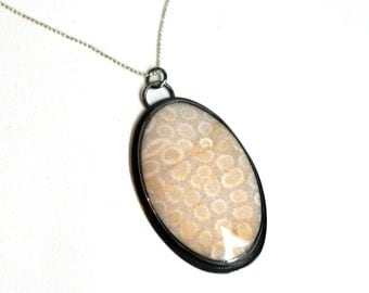 Fossilized Coral Necklace, Petoskey stone, Petoskey Necklace, Handmade Necklace, Statement Necklace, Layering Necklace, White Necklace
