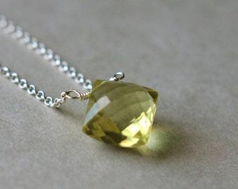 Yellow Quartz Necklace, Lemon Quartz Necklace, Gemstone Necklace, Faceted Quartz Necklace, Sterling Chain Necklace, Diamond Quartz Pendant