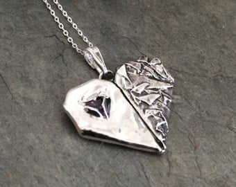 Mended Heart Pendant - Fine Silver and Amethyst Cubic Zirconia