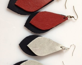Leather Teardrop Earrings Your choice of colors