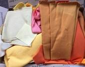 Fabric Destash no. 251 -- 3 pound box of Yellow and Orange Solid Scraps