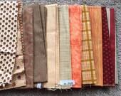 Fabric Destash no. 268 -- Various Beige, Brown, Orange, Red Prints