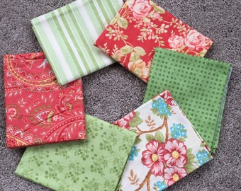 Fabric Destash no. 124, 125, 126, 127 -- 6 Fat Quarters