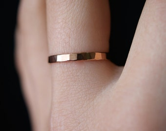 Rose Gold Stack ring, One Single Rose Gold stacking ring, stackable ring, thick gold ring, hammered rose gold ring, rose gold band