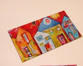 NEW Special Offer-Mini art magnets  Funky Row Houses   in red, green, aqua, orange  by Jodi Ohl