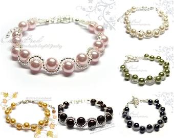 Glass Pearl Bracelet, Swarovski Pearl Bracelet by CandyBead