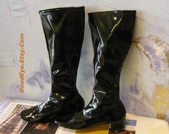 Genuine Vintage Mod GoGo BOOTS size 8 Black Patent Leather  Eur 38 UK 5 Vinyl JAPAN 1960s Beatlemania