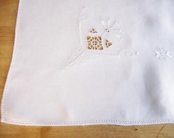 Embroidered Dresser Doily Runner Shabby Linens Home Decor 16 x 32