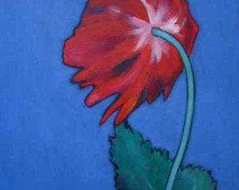 Original Poppy Flower Still Life Canvas Painting by KAZUMI 16 x 12 inch