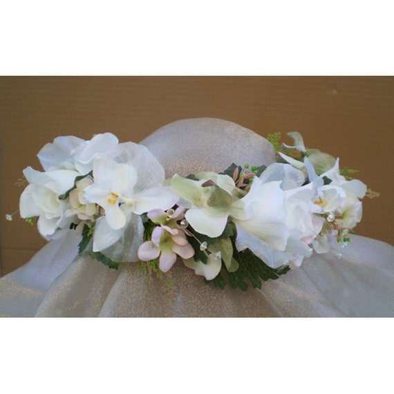 floral head wreath hair flower bridal crown renaissance faerie costume
