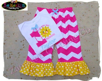 Custom Boutique Clothing Girl Chevron You Are My Sunshine Outfit Tshirt Birthday Tee Knit Pant Set SIZE 2t 3t 4t 5t 6 7 8 12 18 24 9 MONTH t
