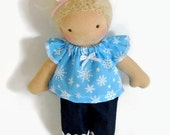 8 - 9 inch Waldorf Doll Clothes, Snowflake Trim Top and Denims, Tiny Doll Winter Clothing
