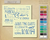 3.5x5 Chalk it up nautical save the date card with envelope