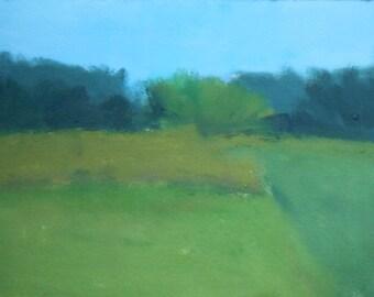 """Original; oil on paper; Landscape ; Thoornton's Field II , 5.5"""" x 7"""""""