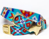 Aztec dog collar - Tribal Collar -Chickasaw, Personalization Available