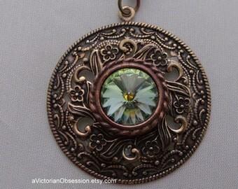 Victorian Vintage Style art deco pendant light green antique gold