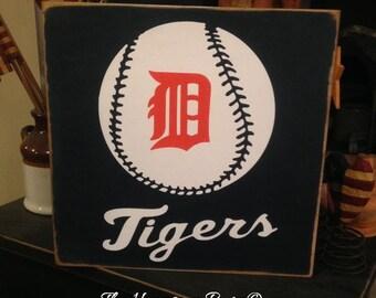 Detroit Tigers Handpainted Wood Sign Plaque Baseball Decor Tiger Big D